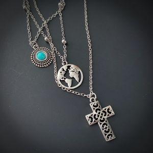 Silver Multilayer Necklace Filigree Cross Globe